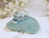 Handmade recycled sterling silver pebble ring | Pebble stacking ring | Silver pebble stacking ring set