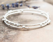Recycled Silver Pebble Stacking Bangle / Recycled Sterling Silver Bracelet / Silver Nugget Jewellery / Handmade in Wales