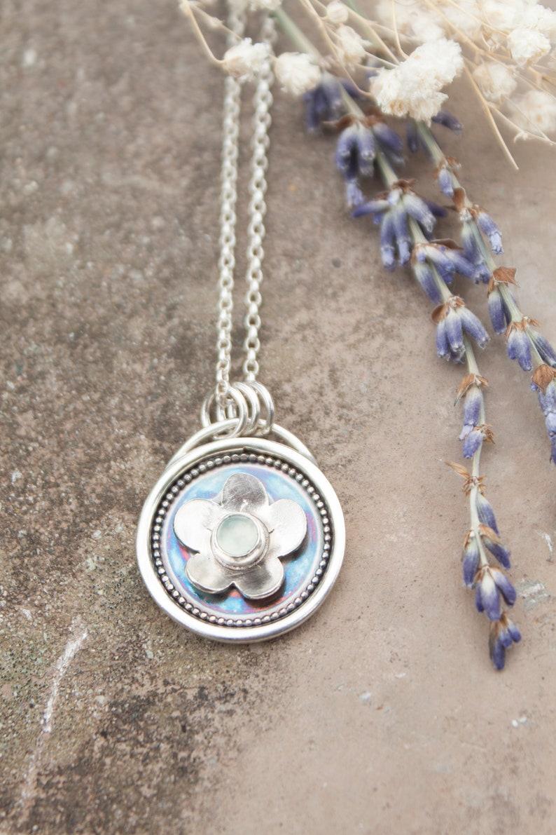 Silver & Prehnite Floral Shadow Box Pendant / Flower Shadowbox image 1
