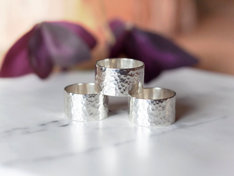 Handmade sterling silver hammered wide band ring image 1