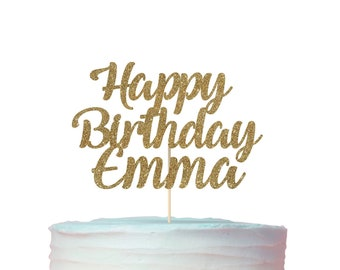 Personalized Happy Birthday Name Cake Topper