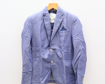 14d67451 Vintage ZARA MAN Denim Couture Blue Jacket Coat
