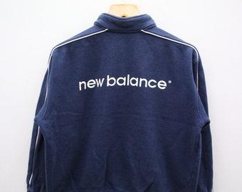 f5935c285b4b6 Vintage NEW BALANCE Small Logo Big Spell Sportswear Blue Pullover Sweater  Sweatshirt Size L
