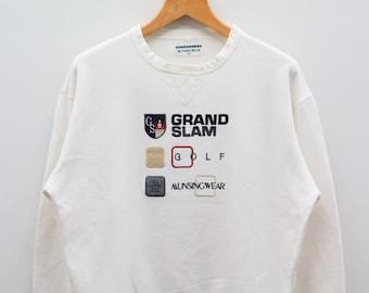 4487f5b0e Vintage MUNSINGWEAR Grandslam Golf Big Spell Big Logo White Pullover  Sweater Sweatshirt