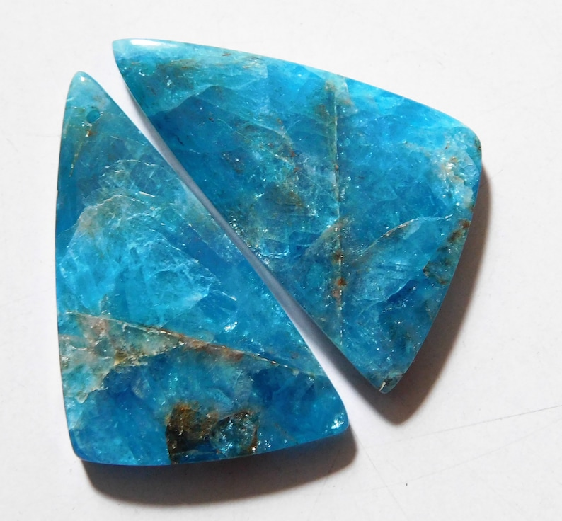 36mm X 20mm Each 59.85 Cts Natural Apatite Drilled Cabochon Match Pair
