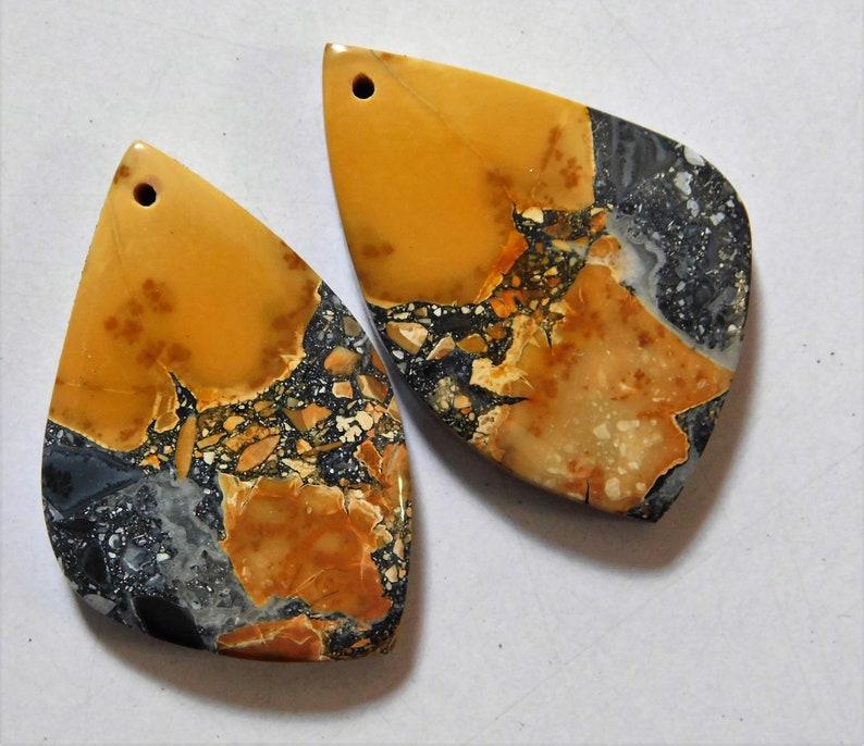 Cabochon Drilled Match Pair 49.50 Cts Natural Maligano Jasper 32mm X 21mm each