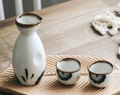 Hand Painted Japanese Sake Set - 5 pieces