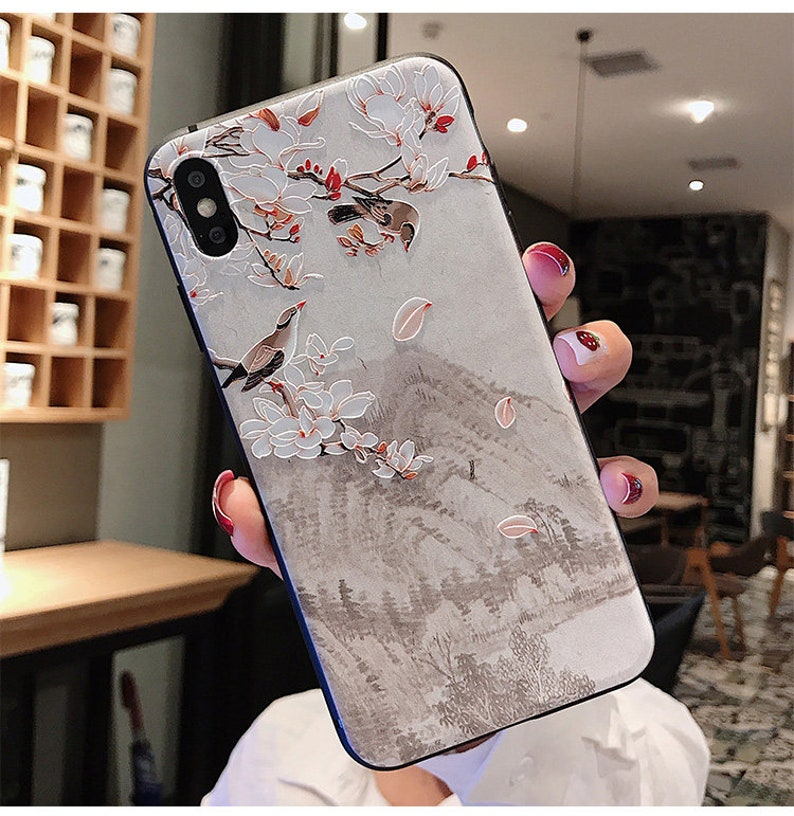 Soft emboss iPhone Case Chinese Landscape Phone Case