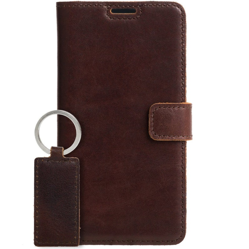 buy online 6bdc1 99ae2 Surazo® For Samsung Galaxy S10 - Handmade Leather case Wallet Phone -  Vintage Smartphone cover - Free Key ring - Western Dark Brown