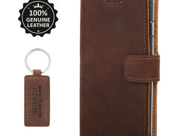 Surazo® For Samsung - Handmade Leather Wallet Phone case - Nut brown cover - Free Key ring A32 A52 A51 S21 20 5G PLUS ULTRA A42