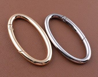 """2 Pcs 1.2/"""" Round Bag Purse Replacement Strap Push Gate Rings Snap Hooks Silver"""