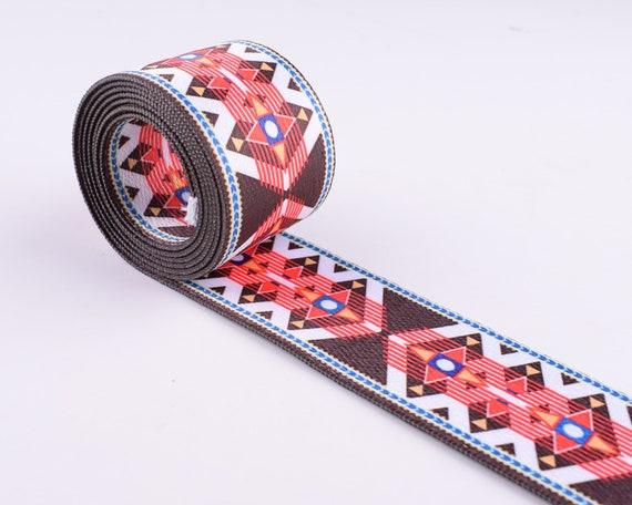 1.5 red Jacquard webbing ribbon,38mm geometric ribbon,decorative craft ribbon,Jacquard trim costume sewing trim by yard key fob webbing