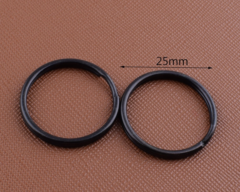 Round key rings,1/'/' Black Iron O rings Double Split Keychain Rings,Metal loop buckle for charmslanyard DIY making hardware 40 Pcs 25mm