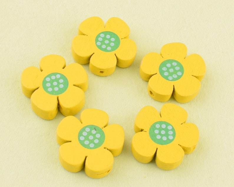 Yellow flower patterned dots wood beads,19mm Natural Wooden Flower beads For Baby Making Handmade Jewelry DIY Craft Beads