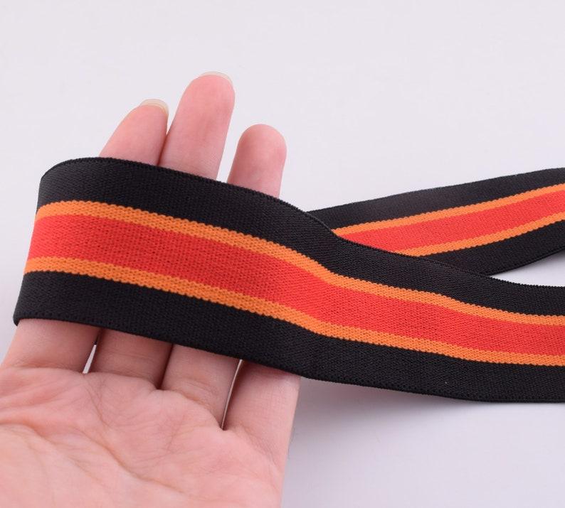 38mm Elastic Ribbon,1.5\u2018\u2019 Wide Double-side black orange red stripes Elastic Band,Soft Comfortable Elastic Trim,Sewing stretchy tape webbing