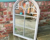 Large Decorative Church Gothic Arched Door Metal Frame Garden Wall Mirror 96cm