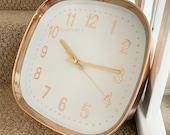 New Modern Retro Round White Copper Home Kitchen Quartz Round Wall Clock 25cm