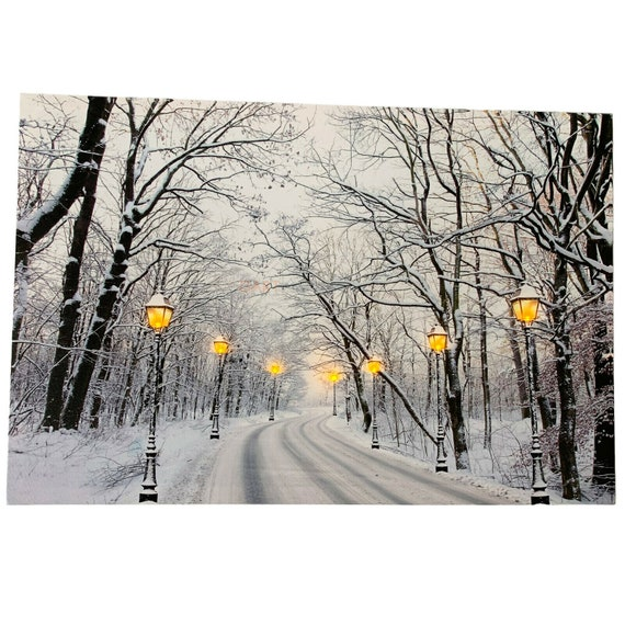 7 LED Light Up HD Winter Road Snow Scene Wall Home Decor Canvas Picture Gift Art