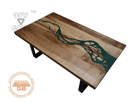 Superieur Square Resin Coffee Table Manufacture With Walnut Wood And Eco Friendly  Epoxy Resin