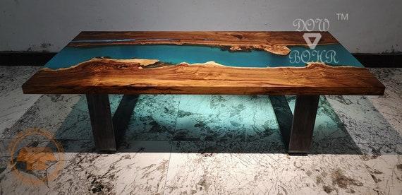 bois résine mesure Table de de avec rose époxy et bleu en sur résine basse qualité QrsdthC