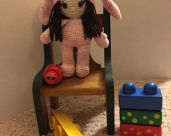 Brown Eyed Bunny Girl Amigurumi Doll