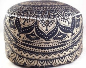 Black Ombre Mandala Round Seating Pouf Cover, Ottoman Furniture, Storage Ottoman, Living Room Ottoman, Foot Stool Decor 14 x 24 quot ROP1009