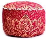 Red Ombre Mandala Round Seating Pouf Cover, Ottoman Furniture, Storage Ottoman, Living Room Ottoman, Foot Stool Decor 14 x 24 quot ROP1008
