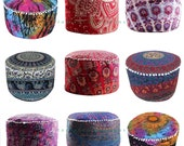 Mandala Round Seating Pouf Cover, Ottoman Furniture, Storage Ottoman, Living Room Ottoman, Foot Stool Decor 14 x 24 quot ROP9004 Large