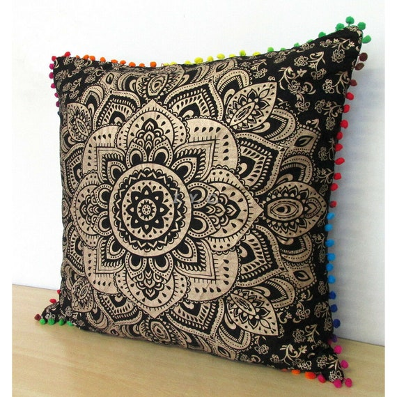 Cushion Pillow Covers Mandala Square Sofa Bed Throw Indian Etsy