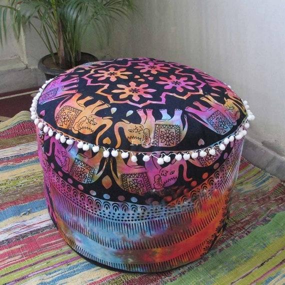 Indian Peacock Mandala Living Room Decor Bohemian Seating Pouf Decorative Cotton Floor Pillow /& Cushion Bean Bag Footstool Pouf Ottoman