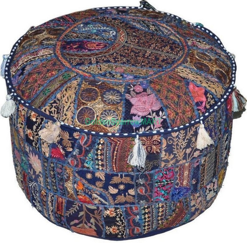 Indian Vintage Embroidered Patchwork Round Seating Pouf Cover Footstool Ottoman Round Pouff Embroidered Seating