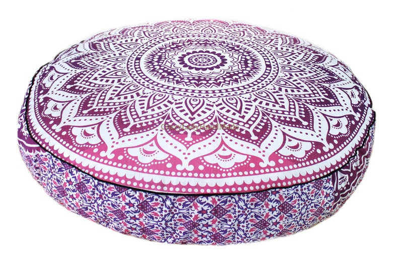 Indian Large Ombre Square Floor Pillow Meditation Cushion Cover Ottoman Pouf