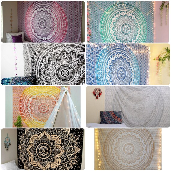 """Indian Mandala Wall Hanging Tapestry Bed Sheet Table Cover ZODIAC SIGNS 82/""""x54/"""""""