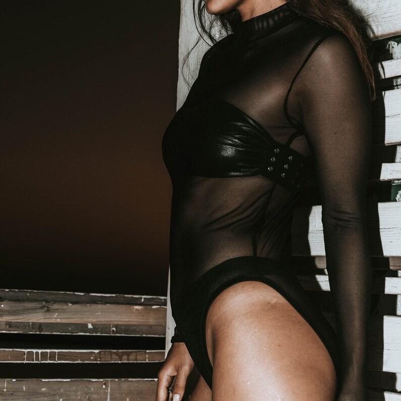 Black Rave Techwear Mesh Net Lycra Long Sleeves Bodysuit For Women