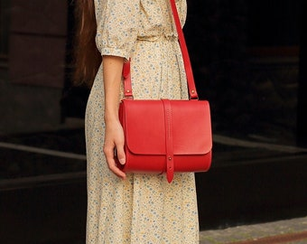 Small leather crossbody bag for woman Red shoulder bag Purse cross body.