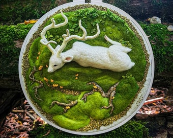 Perfection - Leto Albino Deer AgnaWoolArt, forest house decoration, modern embroidery work, one of a kind Gift, needle felted deer