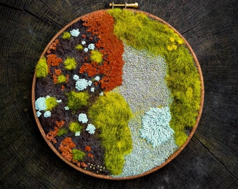 Take a Deep Breath #2, AgnaWoolArt, Forest House Decoration, Modern Embroidery Work, One of a Kind Gift