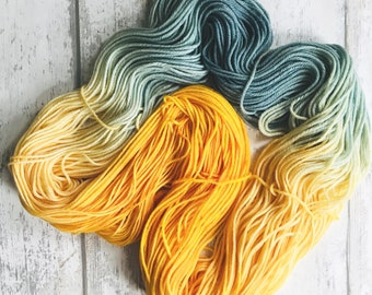 SUNSET - Hand Dyed Variegated Yarn - Gold, Yellow, Blue, Grey - Choose Your Base