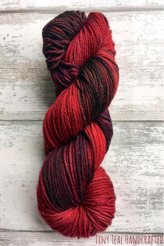 Red Wedding hand dyed deep red semi solid yarn