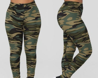 fe77756d25e2e Camo Green - Yoga Leggings - High Waist - Legging - Workout - Meditation -  Running - Casual