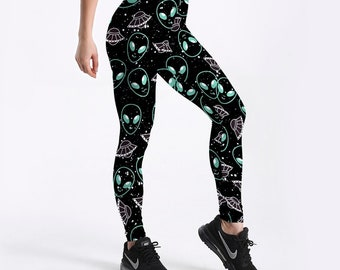 ba6031d38 Alien Leggings | UFO Leggings | Outer Space Leggings | Cute Leggings |  Quirky Leggings | Area 51 Leggings | Funky Leggings | ET Leggings