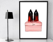 Fashion llustration Inspired by Christian Louboutin Poster Shoes Wall Art, Fashion Home Decor Girls Bedroom Prints Teen Girl Gift Art Prints
