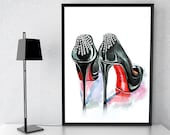 Fashion Poster Inspired by Christian Louboutin Fashion llustration Shoes Wall Art, Home Decor Girls Bedroom Prints Teen Girl Gift Art Prints