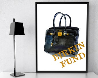 9c11a47a12 Glamour Art inspired by Hermes Birkin Bag Poster