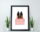 Shoes Wall Art Inspired by Jimmy Choo Poster Fashion Home Decor Girls Bedroom Prints Fashion llustration Girly Gifts Black Shoes Wall Decor