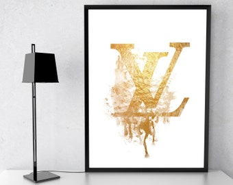 f9d69142e200 Fashion Wall Decor Inspired By Louis Vuitton Gold Dripping Logo Sign French  Fashion Brand Poster Prints