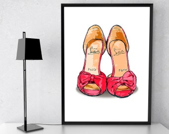 8671939d7 Christian Louboutin Inspired by Shoes Wall Art, Fashion llustration, Girls  Bedroom Prints, Fashion Home Decor, Teen Girl Gift, Art Prints