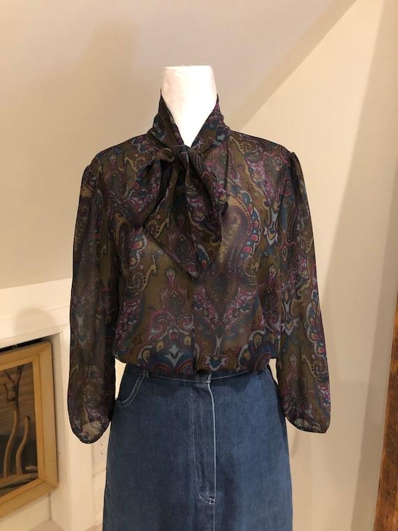 Vintage Paisley Chiffon Silk Blouse