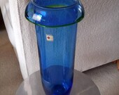 Vintage Tall 12.5 quot Blenko Rolled Rim Blue with Green Trim Vase Label Attached
