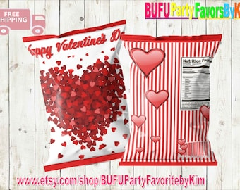Decorations for Love Boss Girl Boy DIGITAL Paper Bag for Valentine Day Printable Party Supplies Romance Theme